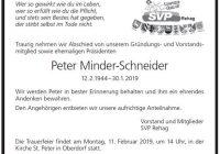 In Erinnerung Peter Minder-Schneider